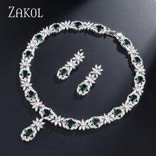 ZAKOL العصرية نمط أبيض اللون الأخضر زركونيا العروس مجوهرات الزفاف مجموعة زهرة أقراط قلادة لأوروبا النساء FSSP2007