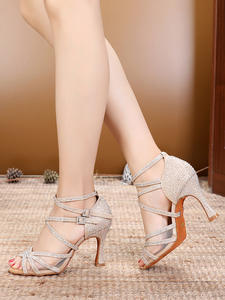 DILEECHI Dance-Shoes Salsa Glitter Ballroom Rhinestones Latin Gold High-Heel Women's
