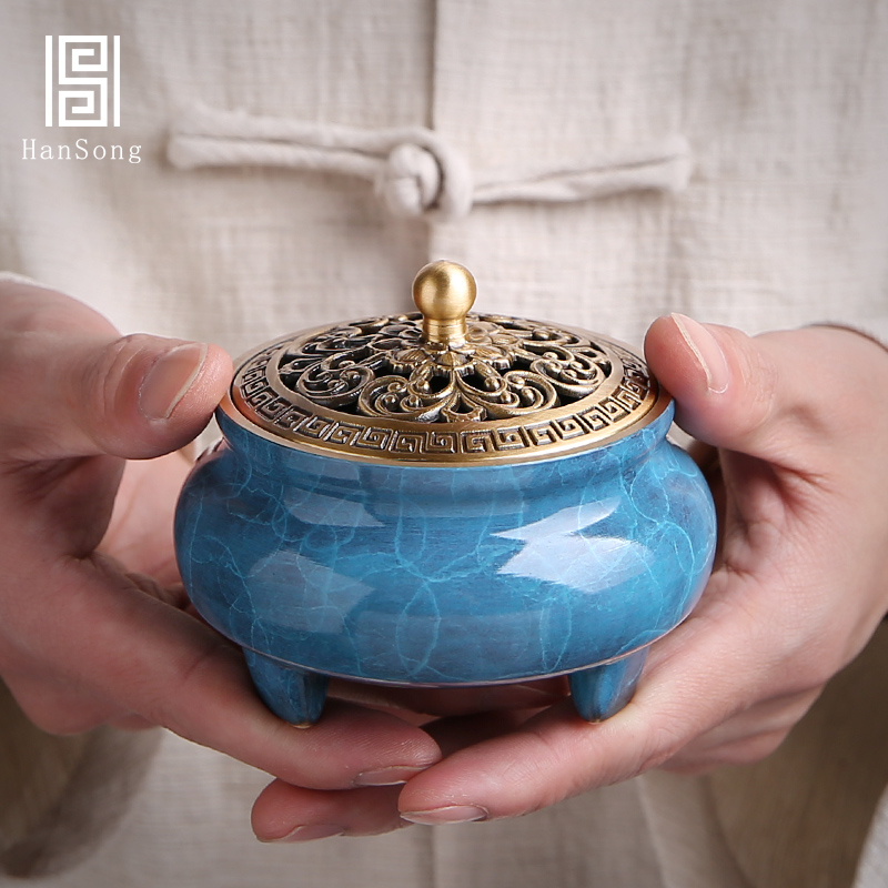 Buddhist Copper Incense Burner Blue Antique Smell Diffuser Little Bedroom Decorations Brule Parfum Home Incense Burners MM60XXL