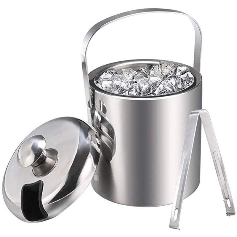 Ev ve Bahçe'ten Buz Kovaları ve Maşaları'de Ice Buckets with Stainless Steel Ice Tongs Double Wall Ice Bucket with Lid Silver Ice Wine Chiller for Bar Paties Ice Buckets fo title=