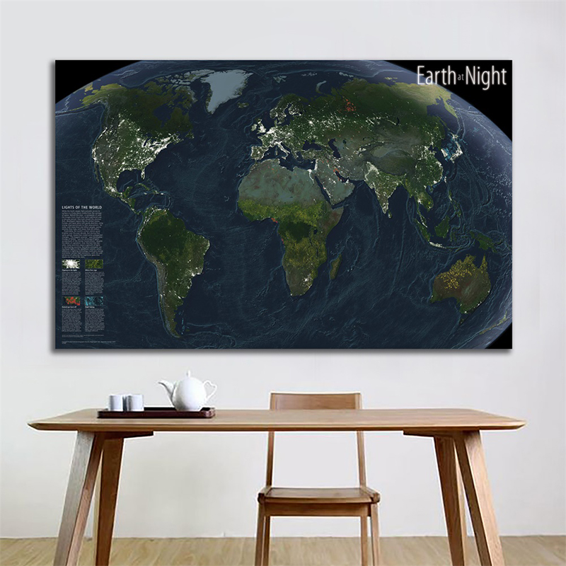 150x100cm World Map Wall Poster Earth At Night Satellite Imagery National Geographic World Map For Education And Culture