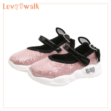Girl Shoes For Kids 2019 Spring Autumn Toddler Sneakers Fashion Flats Princess Shining Sequin With Cat Ear