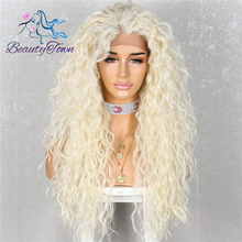 BeautyTown peluca con pelo rizado resistente al calor para mujer maquillaje diario, Cosplay, fiesta de boda, peluca sintética con malla frontal, color rubio 613