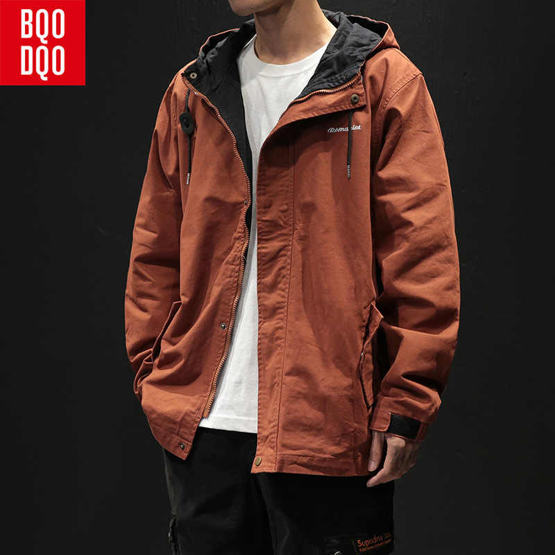BQODQO Drawstring Embroidery Cotton Military Jacket Men Black Streetwear Army Jackets Coat Autumn Fashion Casual Men's Clothing
