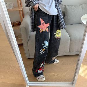 Джинсы женские с мультяшным принтом, милые модные штаны в стиле хип хоп, свободные джинсы в стиле рок, повседневные Смешные уличные брюки в стиле Харадзюку, уличная одежда на осень|Прямые джинсы|   | АлиЭкспресс