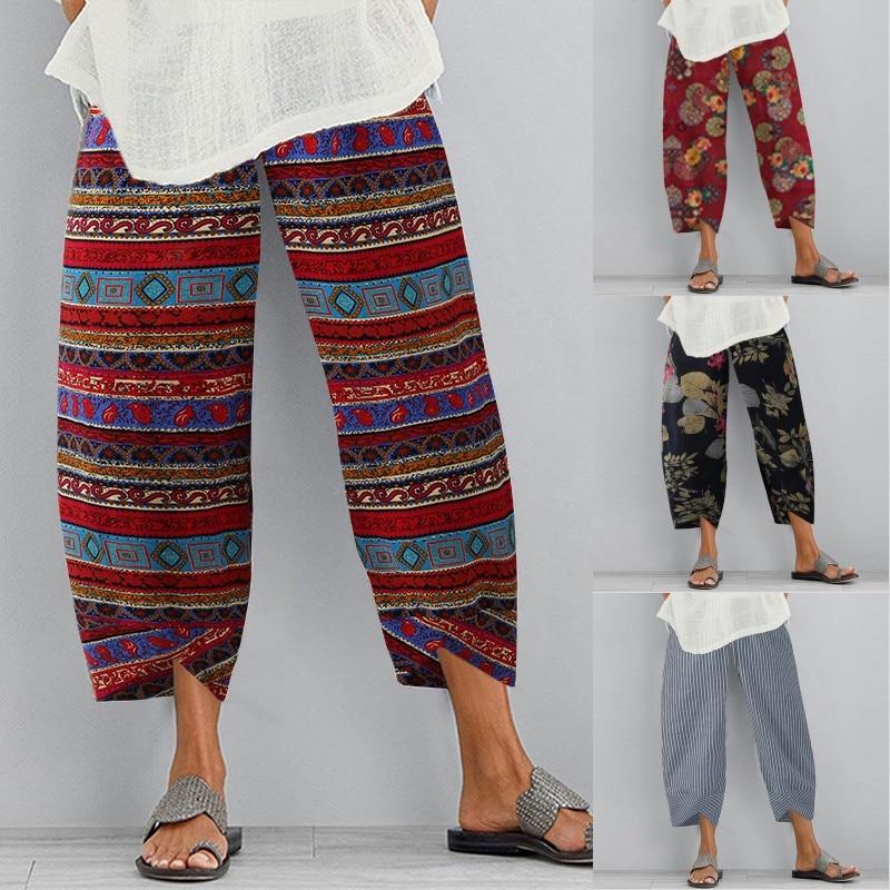 Plus Size Turnip Printed Harem Pants 2021 ZANZEA Women Trousers Fashion Female Casual Floral Elastic WaistLong Pantalon Palazzo