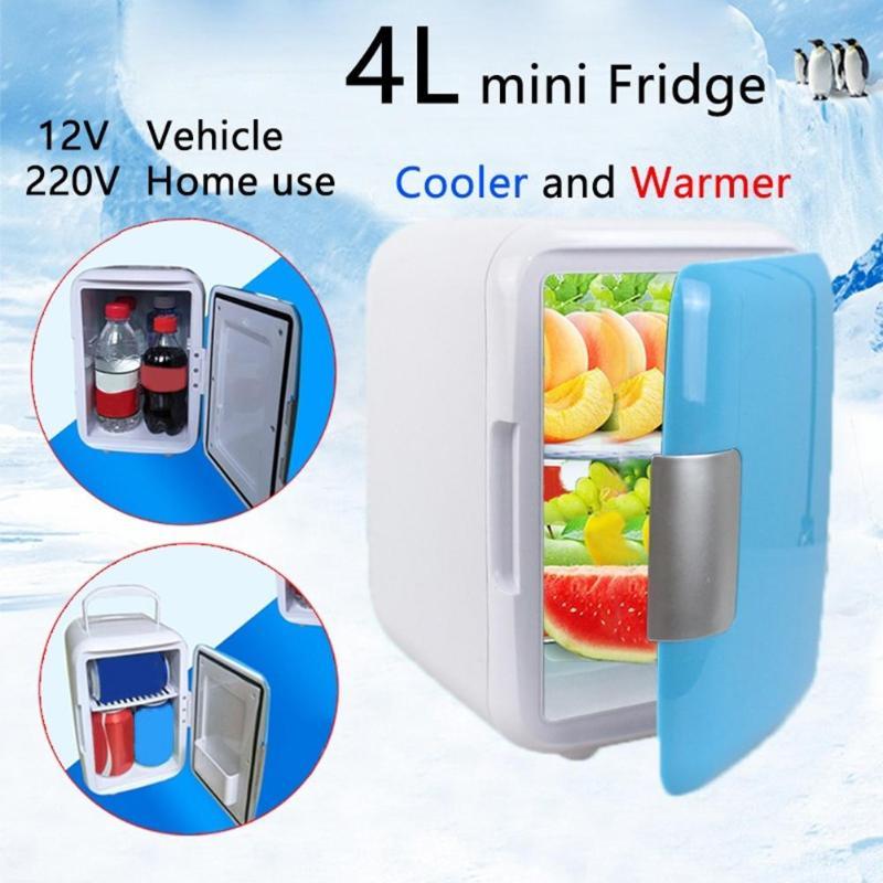 4L Dual-Use Home Car 12V 220V Use Refrigerators Ultra Quiet Low Noise Car Mini Refrigerators Freezer Cooling Heating Box Fridge