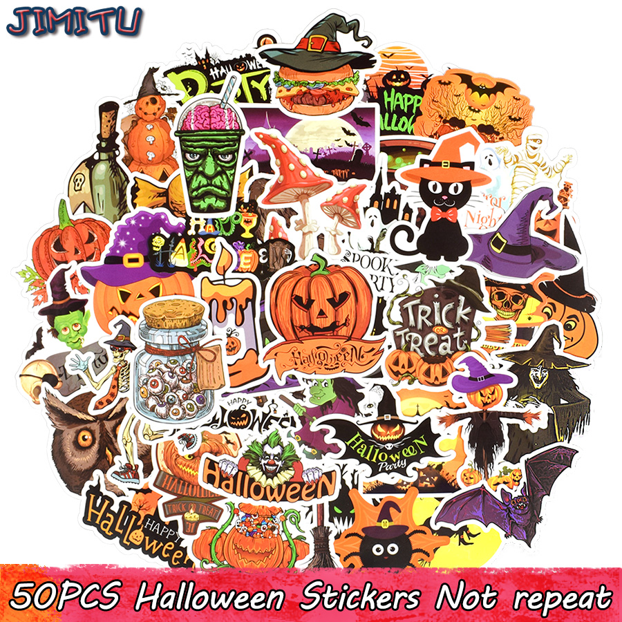 50 PCS Halloween Sticker Funny Graffiti Party Decal Stickers DIY Scrapbooking Laptop Luggage Water Bottle Fridge Tablet Bicycle