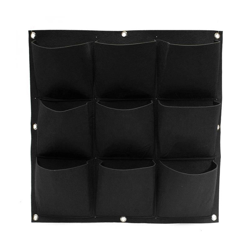 Planters Pockets Hanging Vertical Flower Planter Grow Bag Garden Herb Pot Black