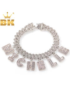 Miami Cuban Necklace Letter Pendant Ankle-Jewelry Hiphop S-Link Baguette KING Statement