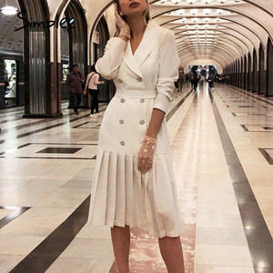 Simplee Vintage pleated belt dress women Notched A-Line long sleeve midi office dress Patchwork bottom white dress autumn 2020
