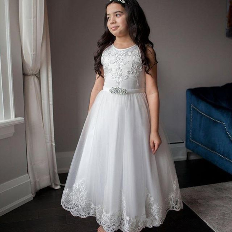 Flower Girl Dresses For Weddings Lace Appliques Pearls First Communion Dresses 2020 Tulle Ivory  Floor Length Sukienki Komunijne