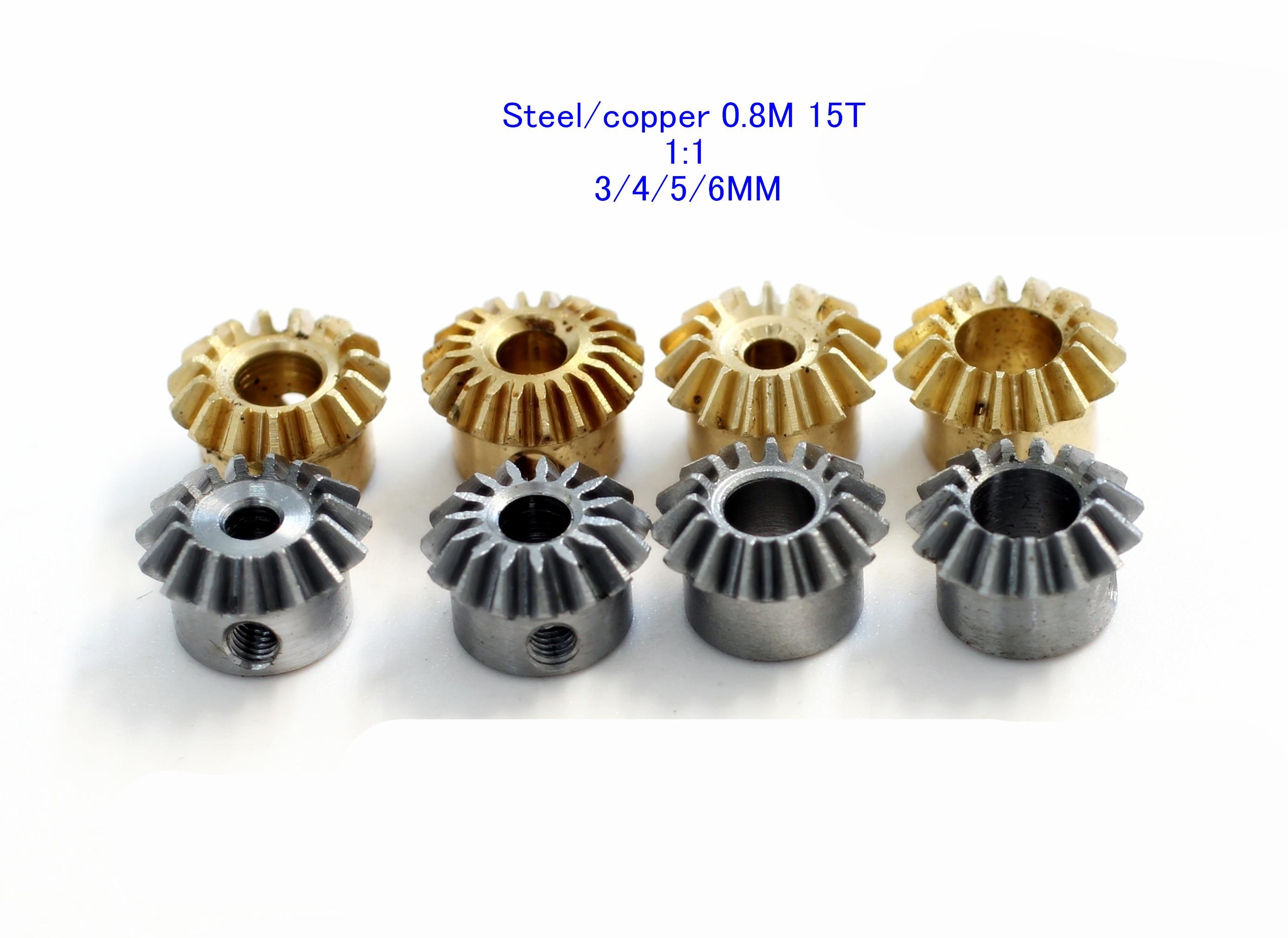 (2 piece) Steel Copper 0.8M 15T 0.8 modulus 15 teeth 1:1 bevel gear Angle gear For 3 4 5 6 mm M3