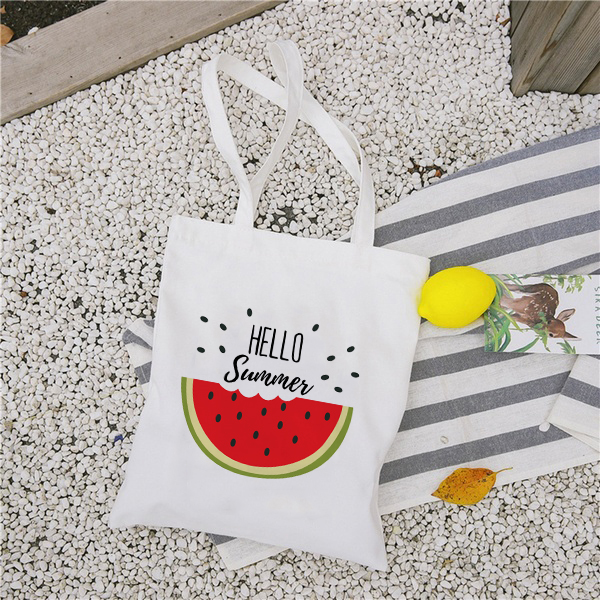 New Women's Casual Canvas Cloth Bag Hello Summer Watermelon Printing Shopping Bag Lady Handbag Reusable Large Capacity Tote