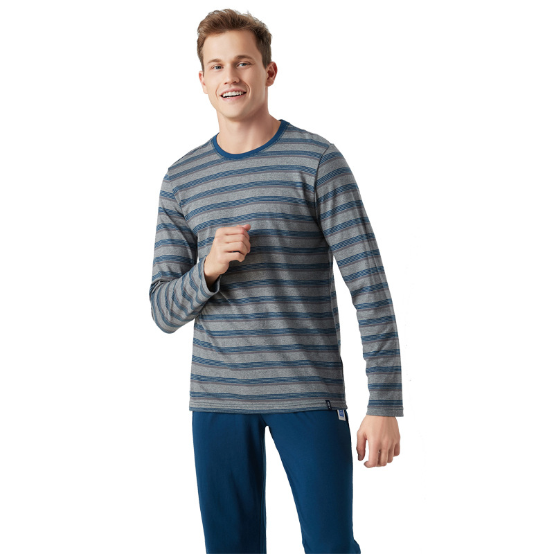 Men's Cotton Pajamas Set Long Sleeve Sleepwear Striped Casual Home Clothing Autumn Winter Pajamas Pajama Sets Pyjamas Pijama