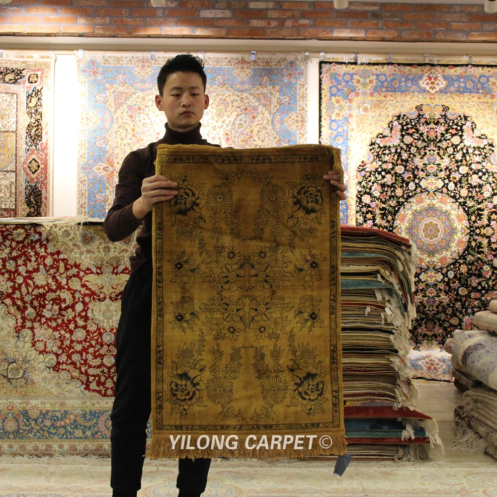 Yilong 2'x3' Small Antique Hand knotted Carpet Top Hand Woven Area Silk Rug (YXR153B)