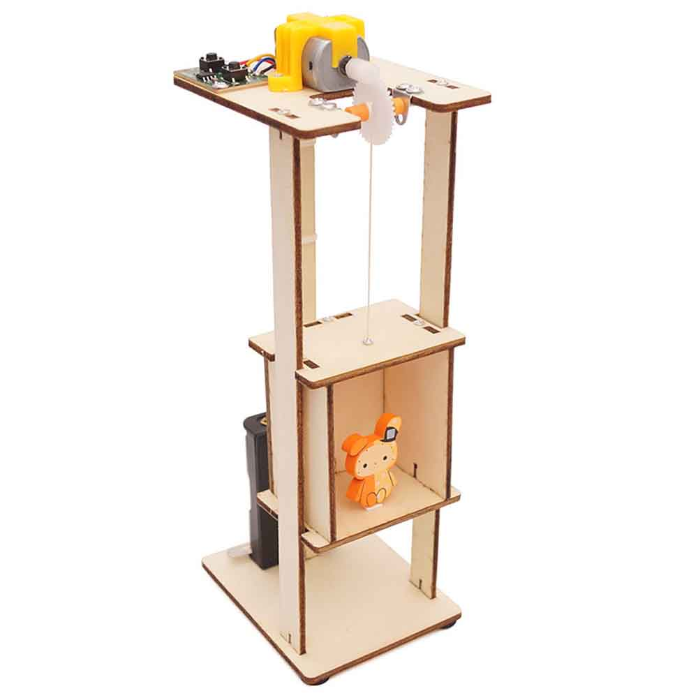 Teenager Wooden Elevator Function Principle Toys DIY Assembled Electric Lift Toys for Children Science Experiment Material Kits