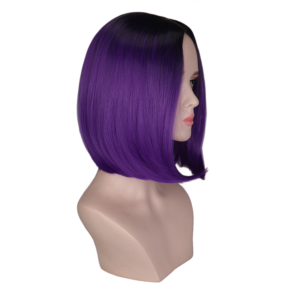 QQXCAIW Two Tones Ombre Wig Women Short Bob Style Cosplay Black To Grey Gray Purple Green Straight SyntheticHair Wigs