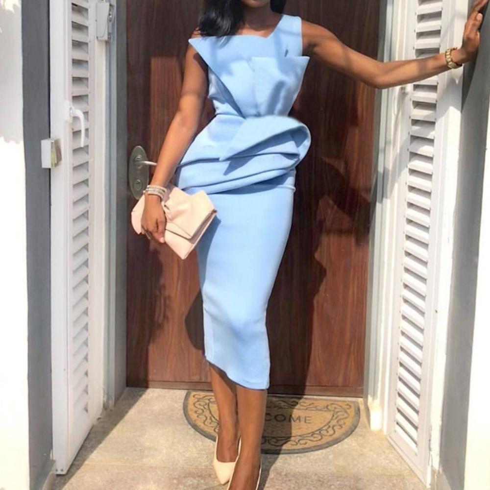 Sleeveless Women Ruffles Pencil Dress Summer 2020 African Style Lady Elegant Dinner Midi Dresses Robe Vintage OL Pleated Dress