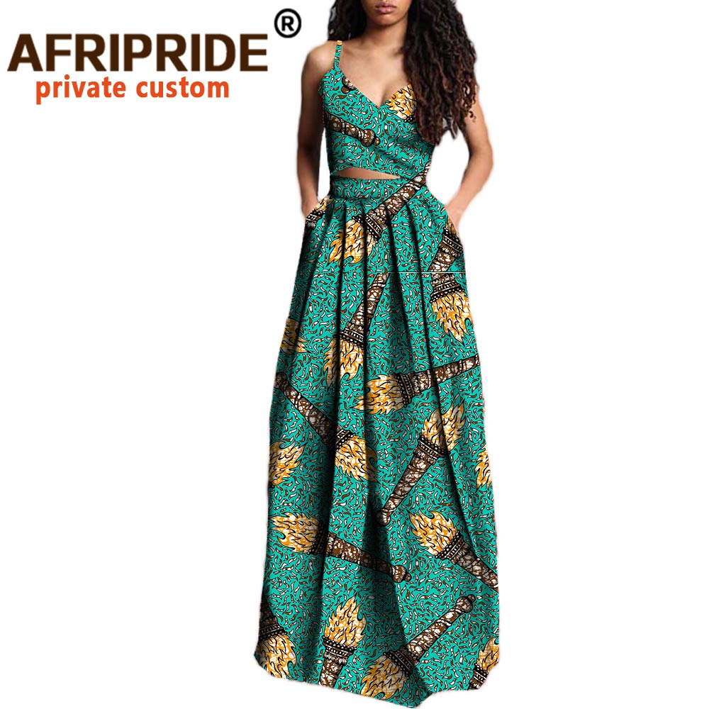 2020 African 2 Piece Set For Wome Crop Top And Maxi Skirts Dashiki Outfits Ankara Clothes  Plus Size Pure Wax Cotton A722629