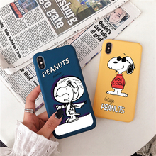 Creative puppy solid color mobile phone case for iPhone X XR 6 6s 7 8 Plus cartoon Charlie back cover XS Max