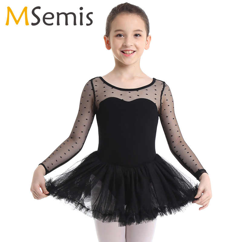 MSemis Kids Girls U Back Balle Dance Wear Rullfe Mesh Gymnastics Leotard Dress