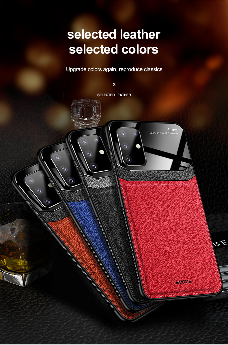 PC Grained Leather Skin-pattern Retro Bumper Back Phone Case for Samsung S20 Plus 9