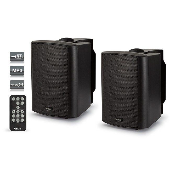 Couple's Boxes Amplified Fonestar 15 W + 15 W, With Reproducer USB-MP3, With Remote Control, Tones Bass And Treble
