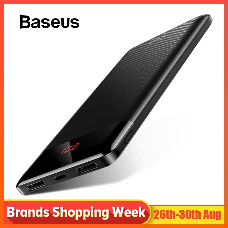 Baseus 10000mAh Power Bank For Xiaomi Samsung iPhone Huawei Powerbank Portable Mini Dual USB Charging External Battery Pack Bank
