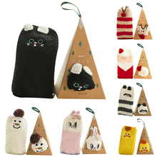 Kids Fleece Socks Baby Girls Boys Christmas Floor Socks with Gift Box Children Striped Snowflake Elk Santa Claus Calcetines snowflake santa claus gift leggings