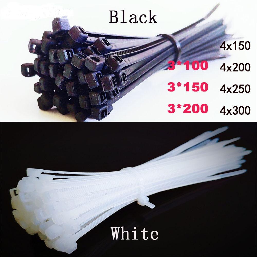 En plastique Câble En Nylon Attaches de câble Auto-bloquantes 100 pièces Noir blanc Attaches de Câble Attacher Boucle cravate Organisateur Attache de Câble