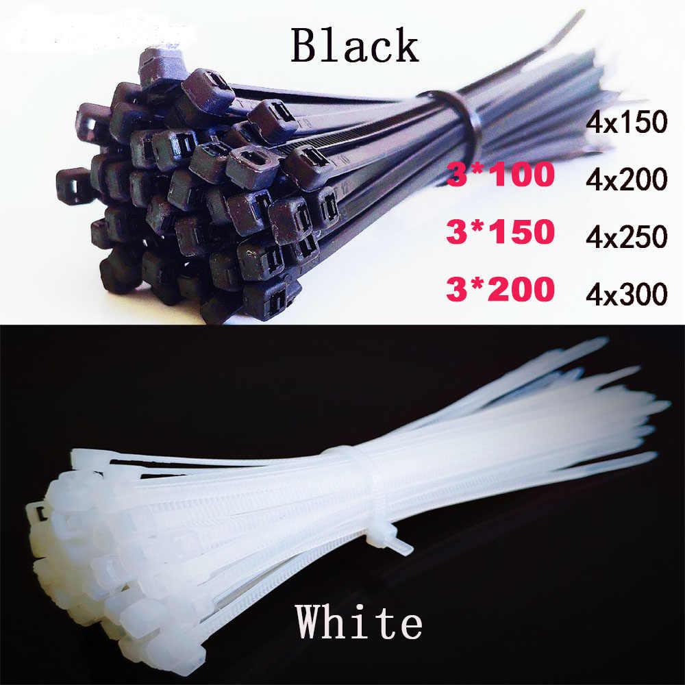 3x100mm Nylon Plastic Zip Wire Cable Ties 100pcs Black Self-Locking Fasten Loop