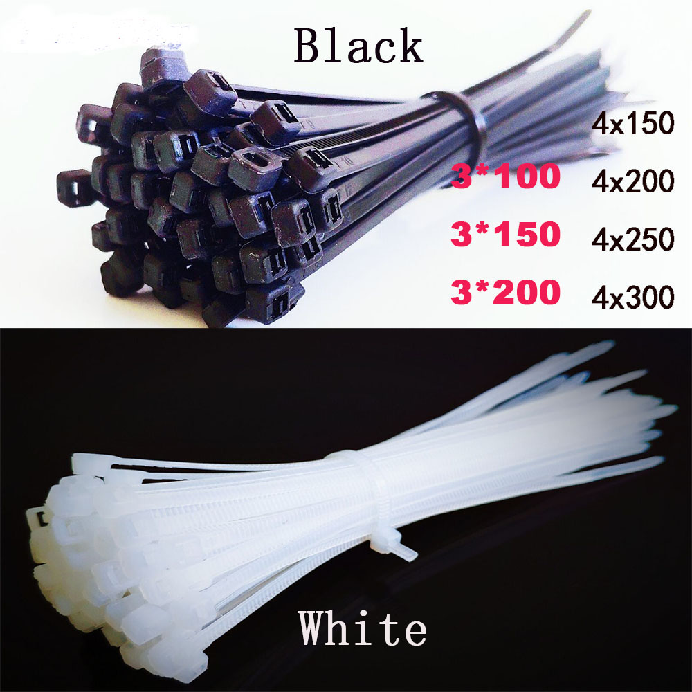 Plastic Nylon Wire Cable Zip Ties Self-Locking Cable Ties 100pcs Black White Cable Ties Fasten Loop Tie Organiser Fasten Cable