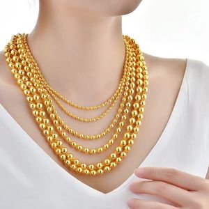 24k Yellow Gold Solid Round Bead Necklace For Women Men 60cm Bead Sand Gold Male Necklace Chain Wedding Party Fine Jewelry Gifts