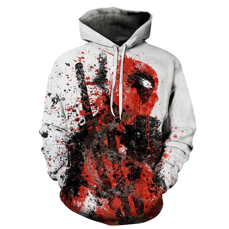 New European Size Cartoon Cosplay Deadpool Hoodies Marvel Men Women 3D Deadpool Badass Coat Sweatshirts Casual Jacket Costume