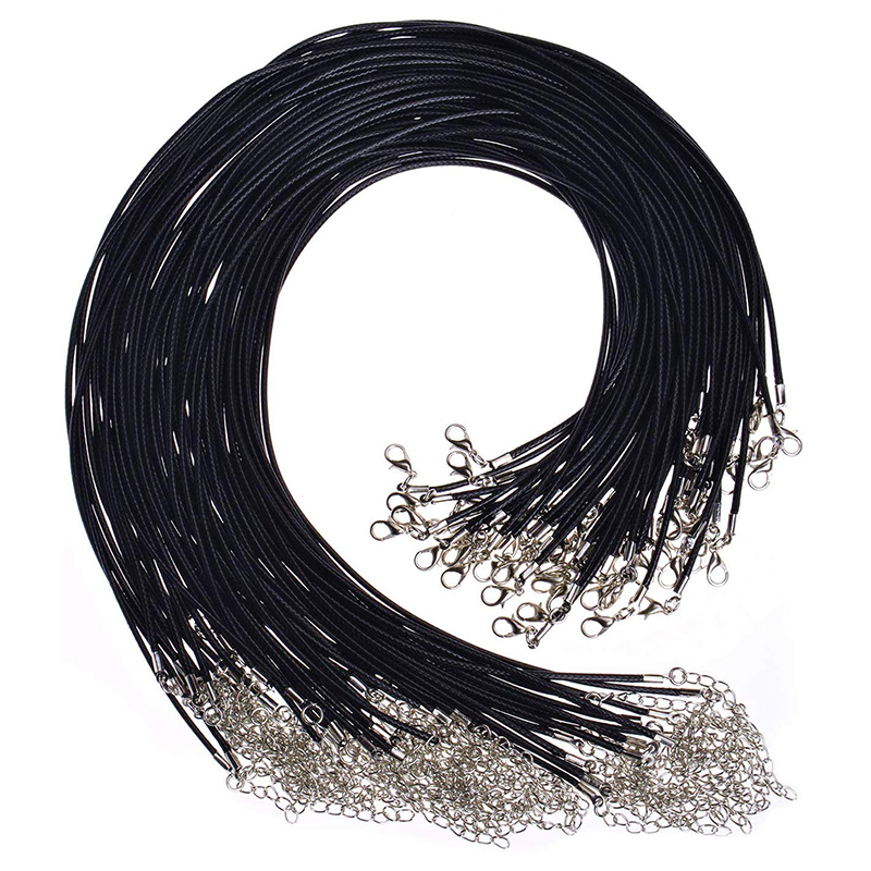 50pcs 45mm Braided Adjustable Black Leather Rope Wax Cord DIY Handmade Necklace Pendant Lobster Clasp String Cord Jewelry Chains