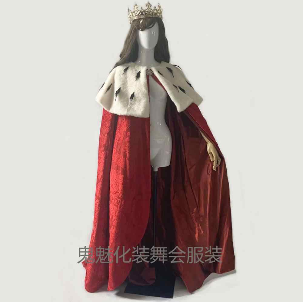 Muzikale Hamilton Cosplay Kostuum Koning George Washington Cosplay Kostuum Halloween Cape Fluwelen King Queen Regal Robe Kostuum