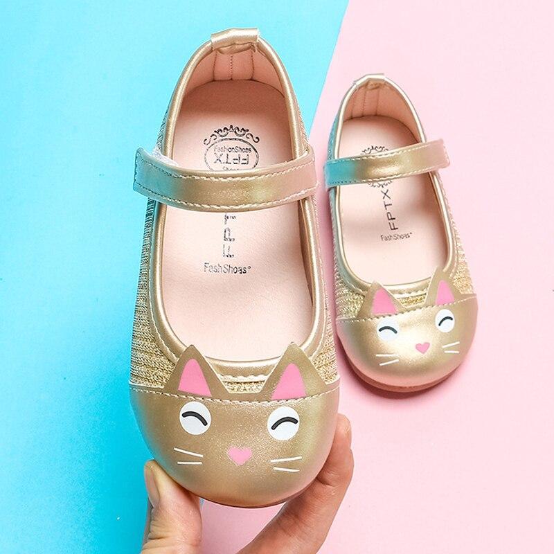 0-6T Kid Girl Rhinestone Princess Shoes Flats Mary Jeans Lolita Shoe PU Sneakers