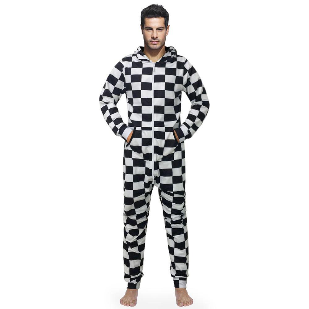 Fashion Black And White Gingham Pajamas Men's Checked Jumpsuit Long Sleeves Plaid Pullover Sleepwear Zipped Housewear For Couple