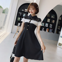 Spring and summer new style Slim temperament A-line dress Lace-paneled black dress 2016 spring summer new style girl lace dress baby thick disorderly princess temperament full dress exceed immortal