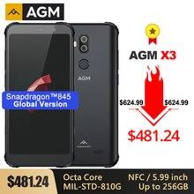 AGM X3 견고한 MIL STD 스마트 폰 8G + 256G Octa Core 5.99 24mp 카메라 듀얼 스피커 방수 전화 NFC 안드로이드 8.1