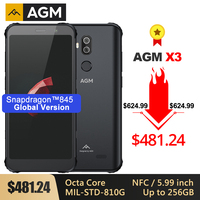 AGM X3 Rugged MIL STD Smartphone 8G+256G SDM845 Octa Core 5.99'' 24MP Camera Dual BOX Speaker Waterproof Phone NFC Android 8.1