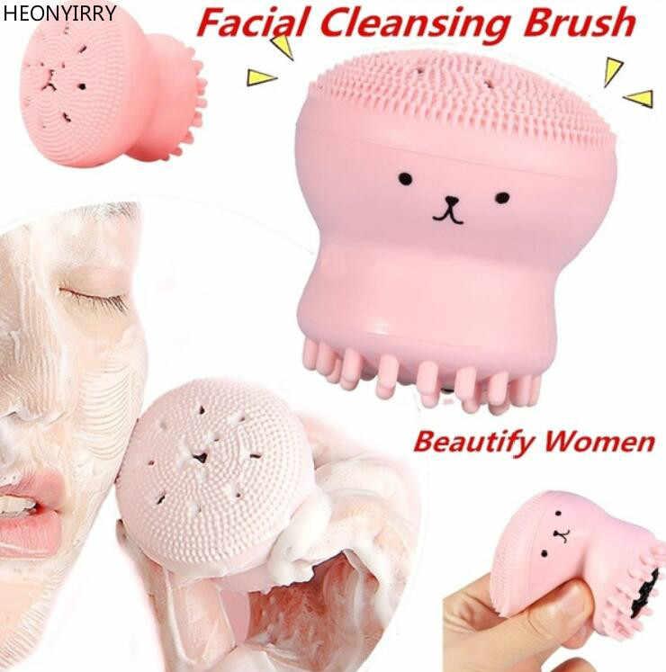 מדוזה פנים לשטוף מברשת פילינג פנים ניקוי מברשת עיסוי רך סיליקון עור טיפול כלי Scrubber חטט אקנה מברשת
