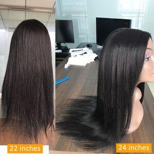 Lanqi перуанские бразильские прямые человеческие волосы парики 13x4 синтетические волосы на кружеве парик кружева передние человеческих волос...