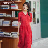 INMAN 2020 Summer New Arrival Pure Cotton French Style Lace-up Nipped Waist Turn-down Collar Floral Dress