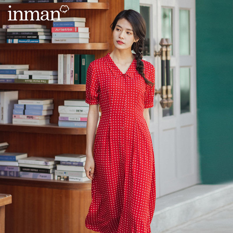 INMAN 2020 Summer New Arrival Pure Cotton French Style Lace-up Nipped Waist V-neck Floral Dress