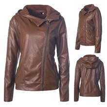 Moda jesienno-zimowa damska jednolite kolory zamek z kapturem z długim rękawem PU Faux Leather smukła kurtka motocyklowa płaszcz znosić #35 tanie tanio Eillysevens CN (pochodzenie) Zima zipper Zamki błyskawiczne Na co dzień REGULAR Pełne NONE Leather Jacket Coat Dla osób w wieku 18-35 lat