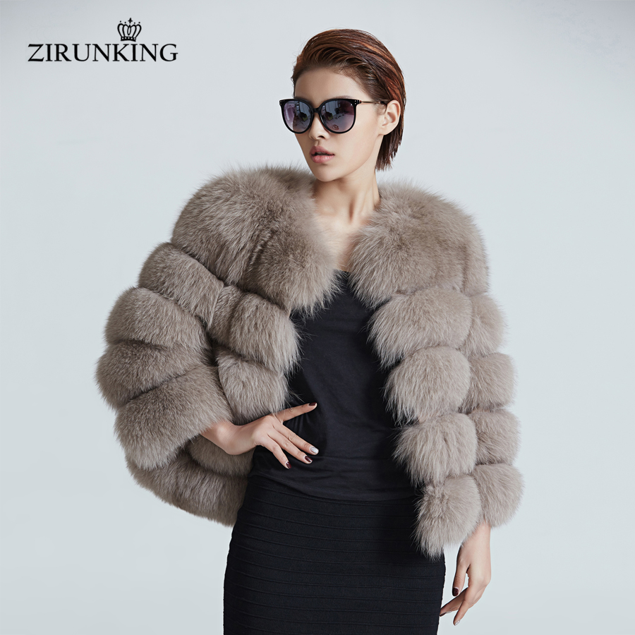 ZIRUNKING Women Warm Real Fox Fur Coat Short Winter Fur Jacket Outerwear Natural Blue Fox Fur Coats For Women ZC1636