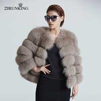 ZIRUNKING Women Warm Real Fox Fur Coat Short Winter Fur Jacket Outerwear Natural Blue Fox Fur Coats for Women ZC1636