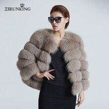 ZIRUNKING manteau de fourrure en renard véritable pour femme, manteau de fourrure dhiver court, bleu naturel, manteau de fourrure en renard, tenue à la mode veste dextérieur